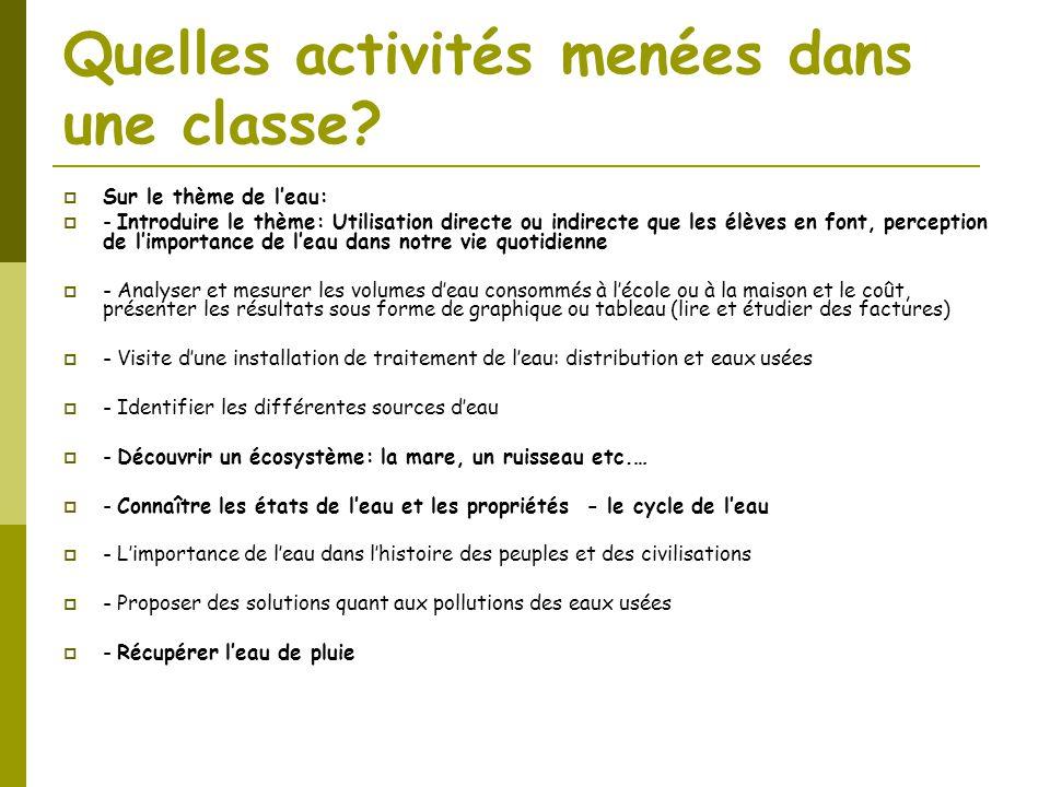 Quelles activités menées dans une classe