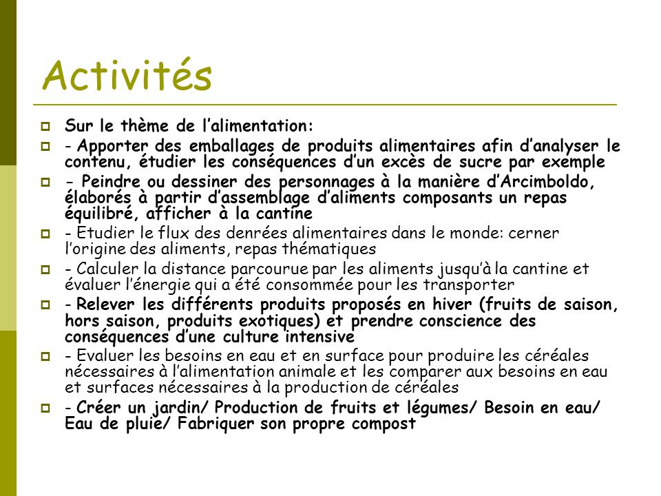 Activités Sur le thème de l'alimentation: