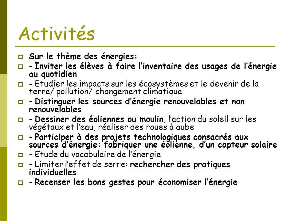 Activités Sur le thème des énergies: