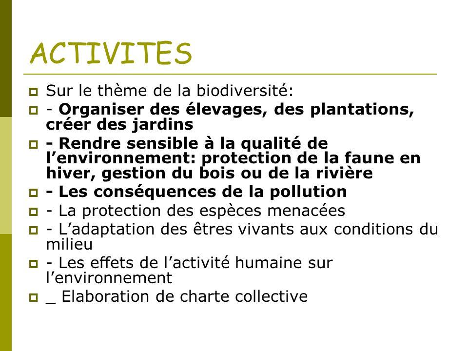 ACTIVITES Sur le thème de la biodiversité: