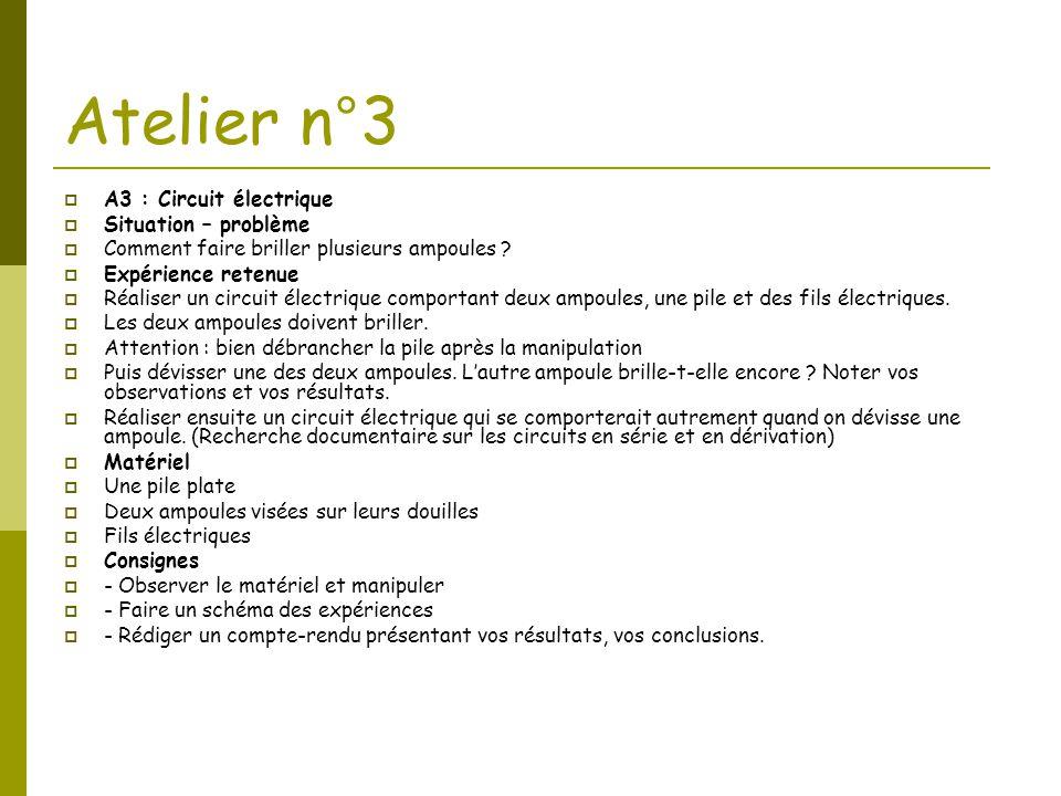 Atelier n°3 A3 : Circuit électrique Situation – problème