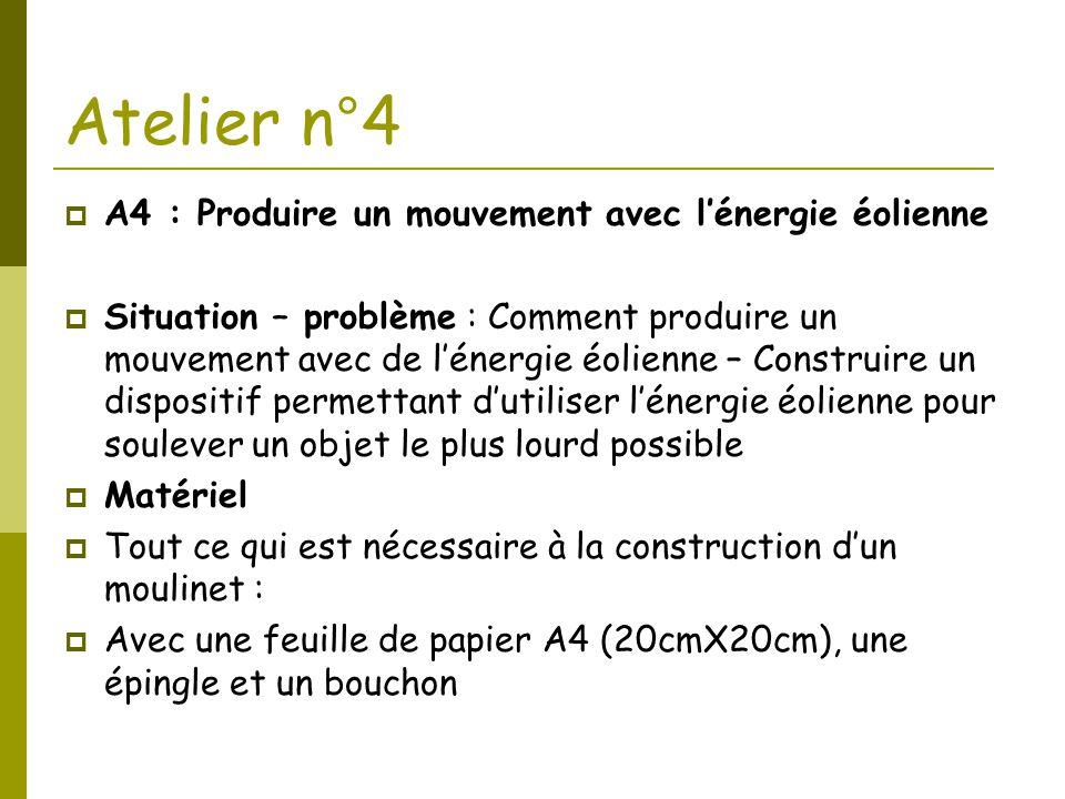 Atelier n°4 A4 : Produire un mouvement avec l'énergie éolienne