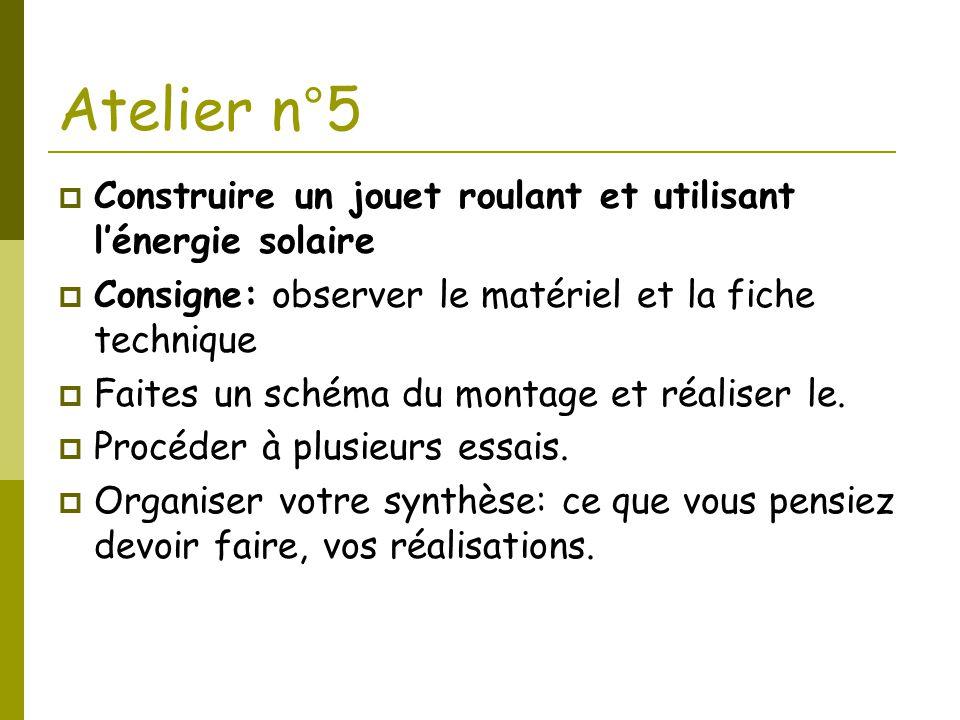 Atelier n°5 Construire un jouet roulant et utilisant l'énergie solaire