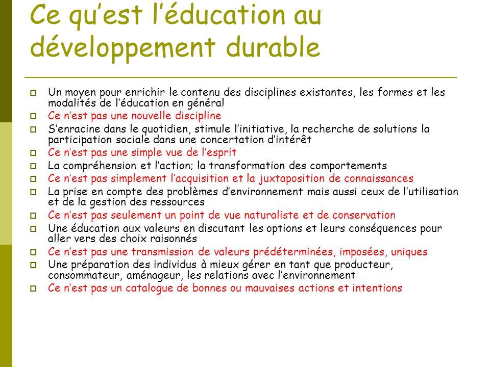 Ce qu'est l'éducation au développement durable