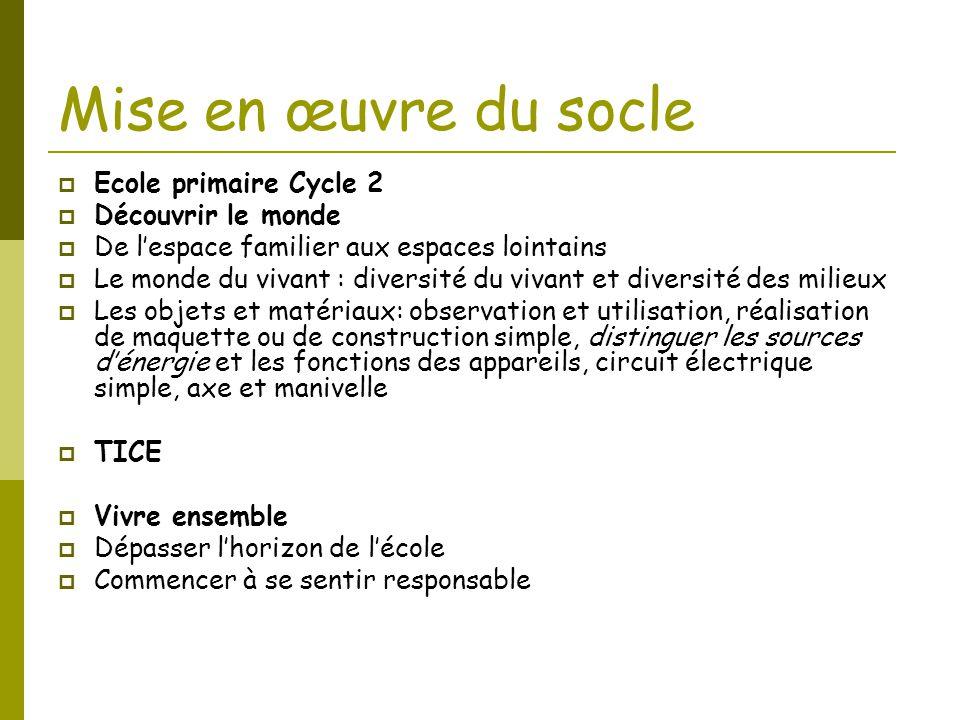 Mise en œuvre du socle Ecole primaire Cycle 2 Découvrir le monde