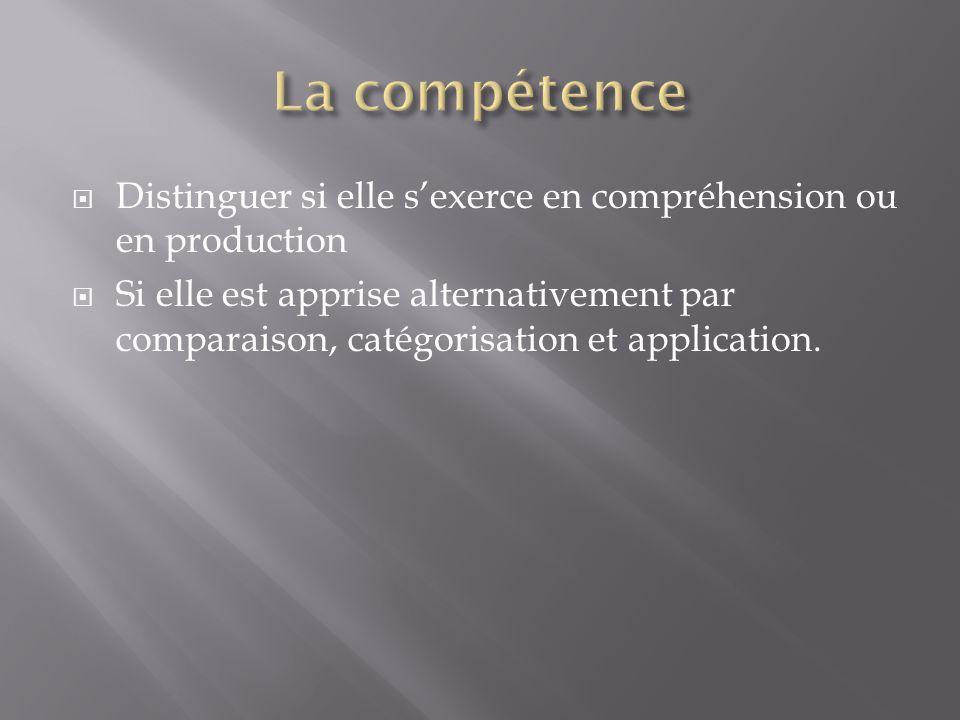 La compétence Distinguer si elle s'exerce en compréhension ou en production.