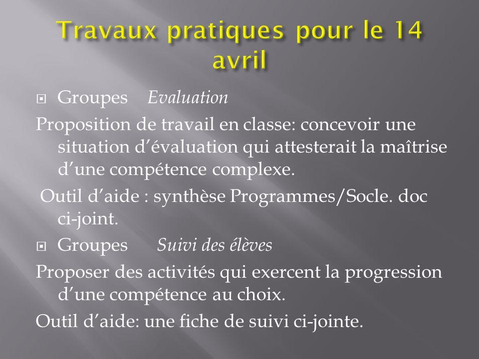 Travaux pratiques pour le 14 avril