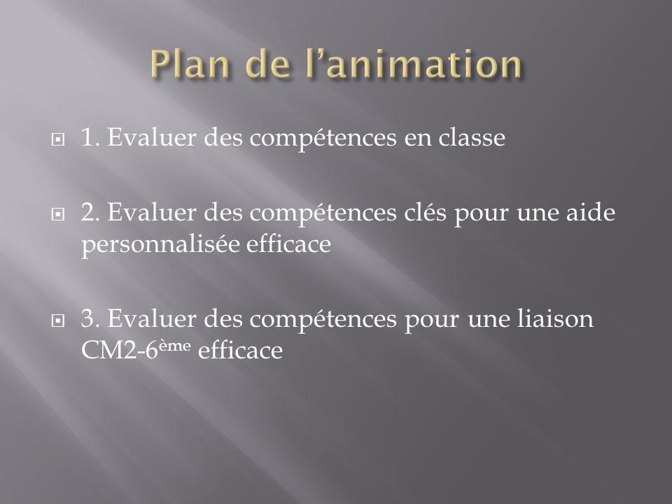 Plan de l'animation 1. Evaluer des compétences en classe