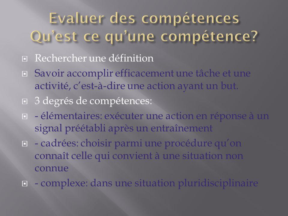 Evaluer des compétences Qu'est ce qu'une compétence