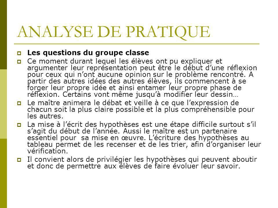 ANALYSE DE PRATIQUE Les questions du groupe classe