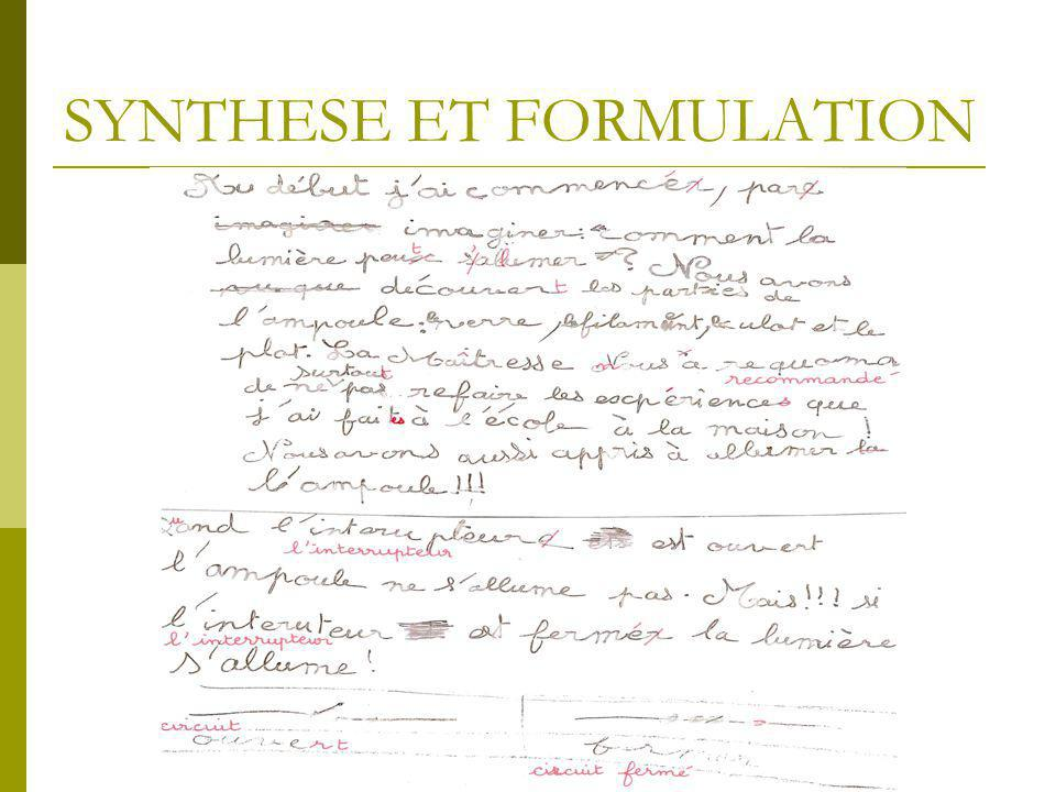 SYNTHESE ET FORMULATION