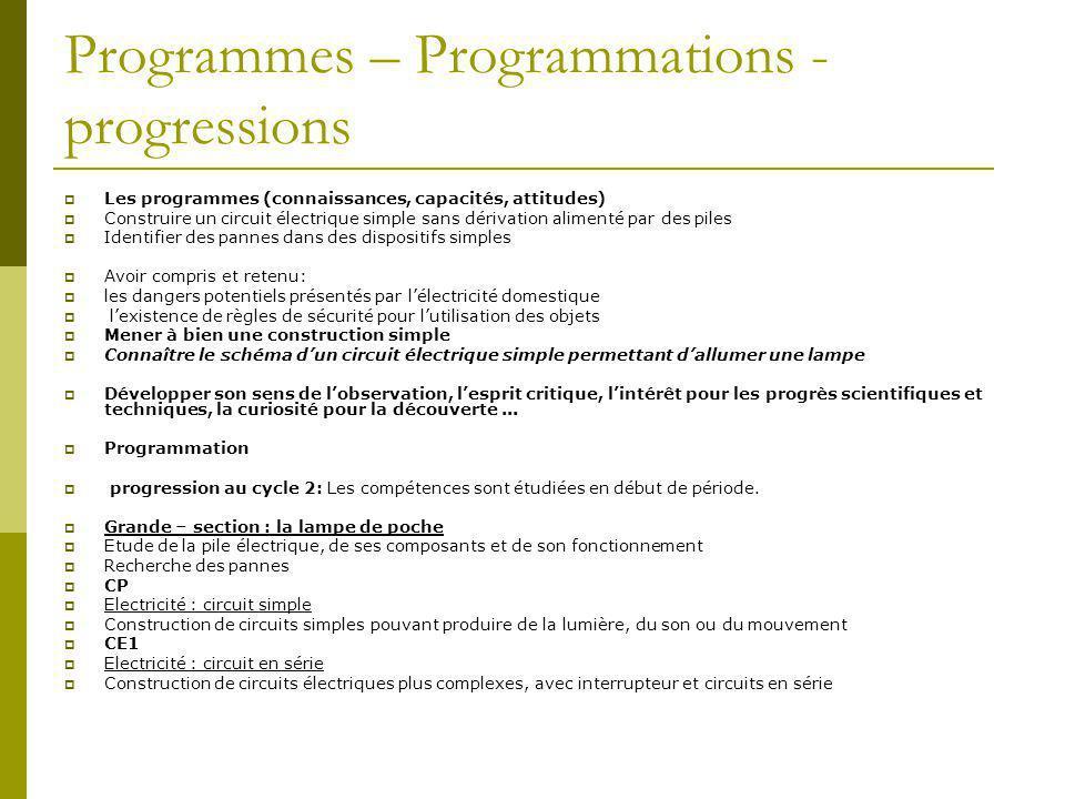 Programmes – Programmations - progressions