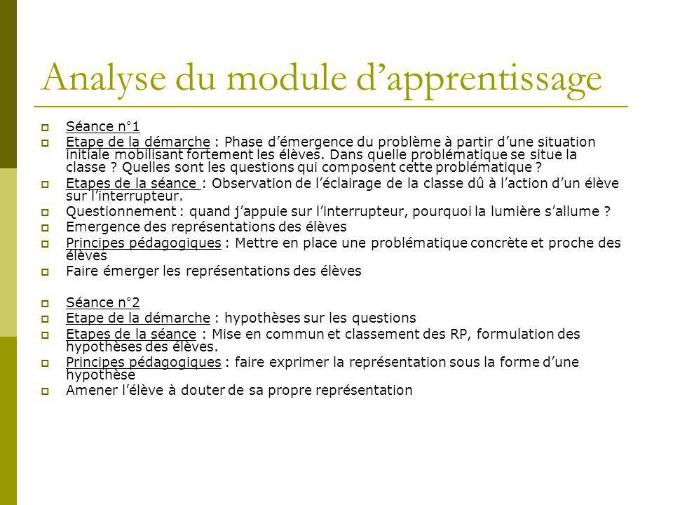 Analyse du module d'apprentissage