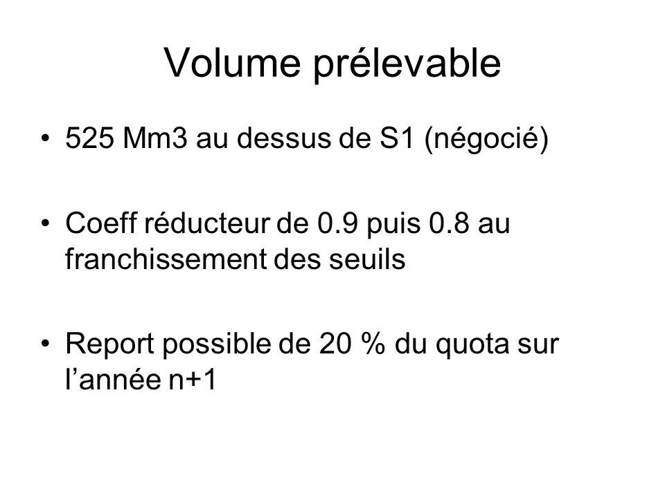 Volume prélevable 525 Mm3 au dessus de S1 (négocié)