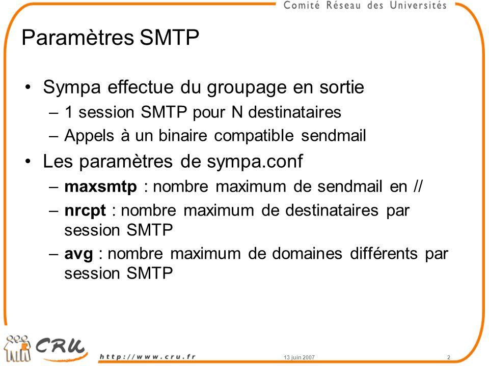 Paramètres SMTP Sympa effectue du groupage en sortie