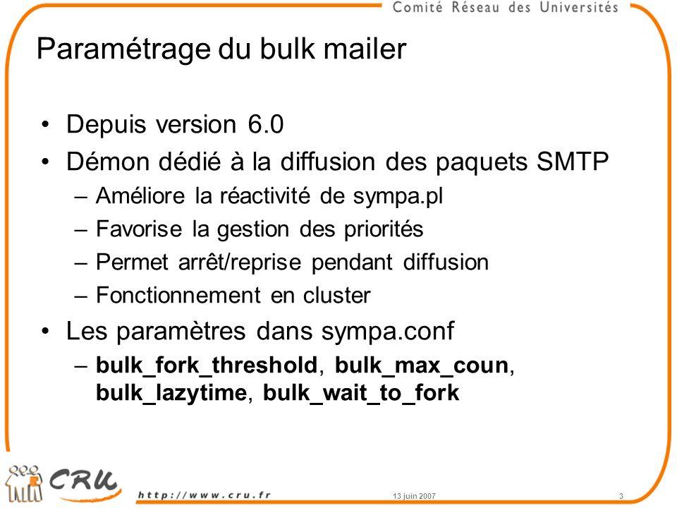 Paramétrage du bulk mailer