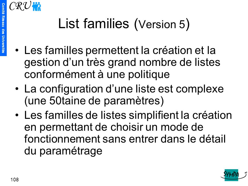 List families (Version 5)