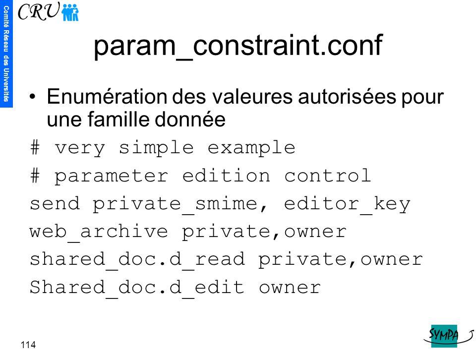 param_constraint.conf Enumération des valeures autorisées pour une famille donnée. # very simple example.