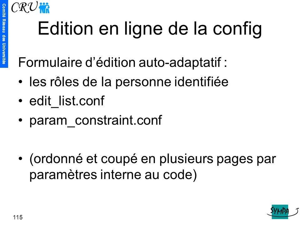 Edition en ligne de la config
