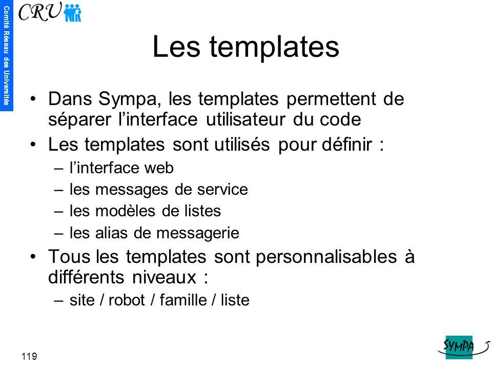 Les templates Dans Sympa, les templates permettent de séparer l'interface utilisateur du code. Les templates sont utilisés pour définir :