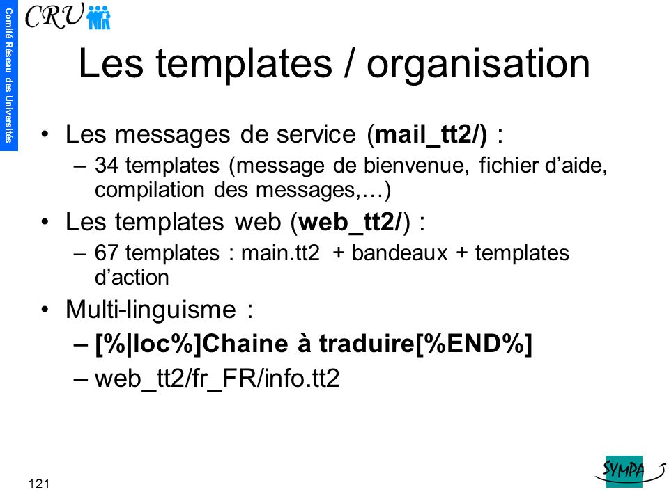 Les templates / organisation