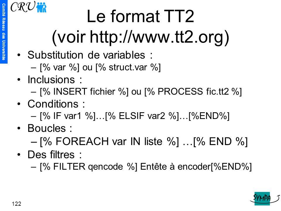 Le format TT2 (voir http://www.tt2.org)