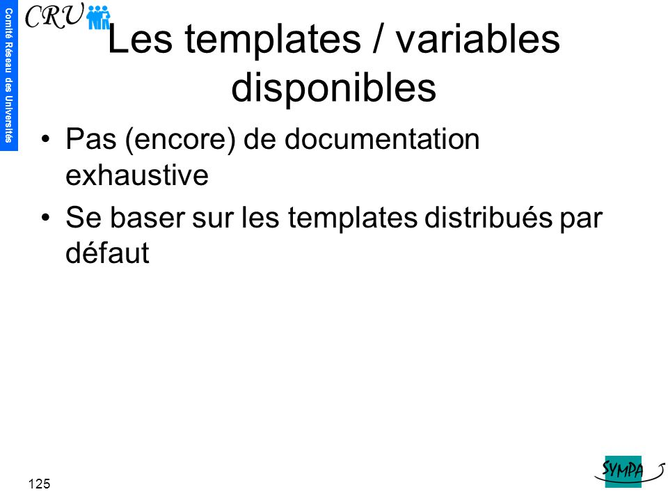 Les templates / variables disponibles