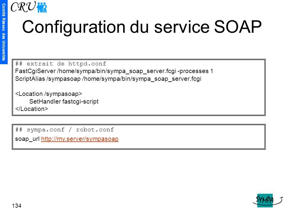 Configuration du service SOAP