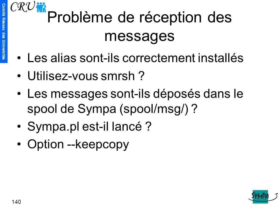 Problème de réception des messages