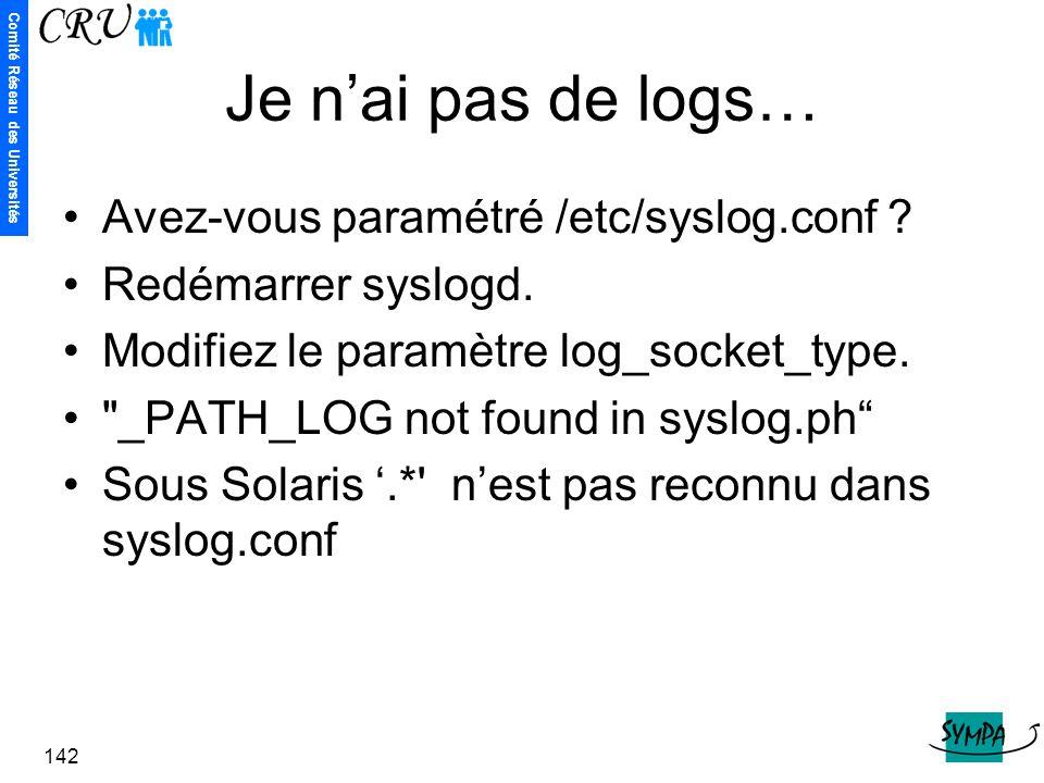 Je n'ai pas de logs… Avez-vous paramétré /etc/syslog.conf