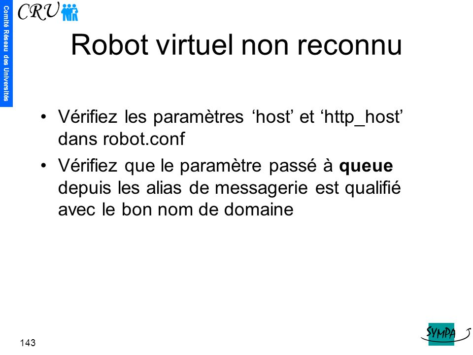 Robot virtuel non reconnu
