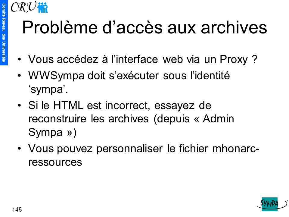 Problème d'accès aux archives