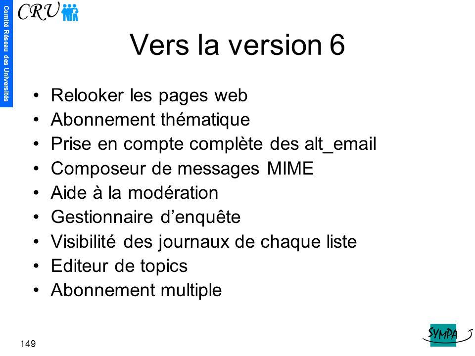 Vers la version 6 Relooker les pages web Abonnement thématique