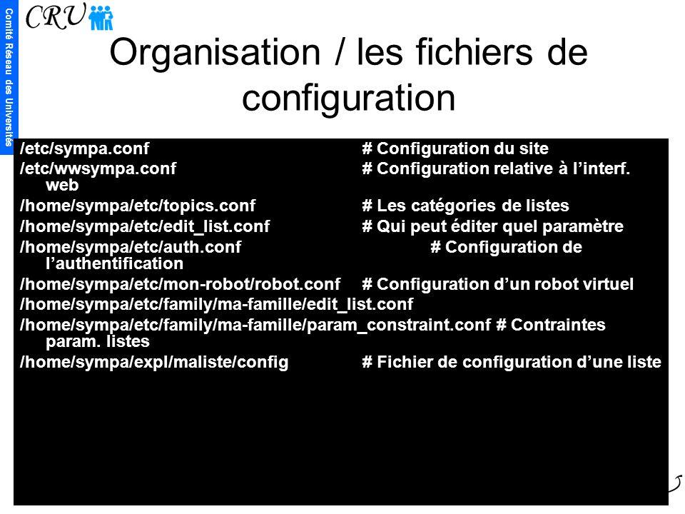 Organisation / les fichiers de configuration