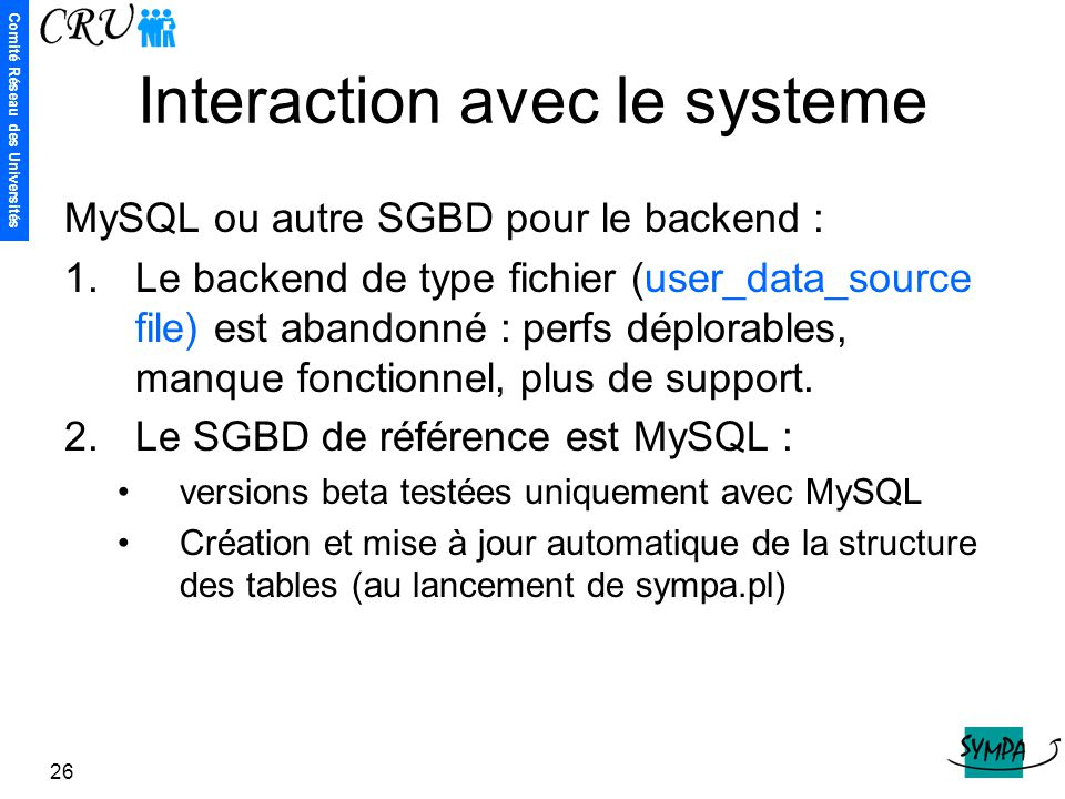 Interaction avec le systeme