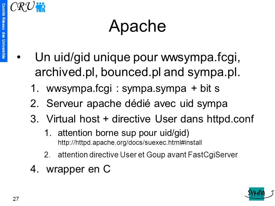 Apache Un uid/gid unique pour wwsympa.fcgi, archived.pl, bounced.pl and sympa.pl. wwsympa.fcgi : sympa.sympa + bit s.