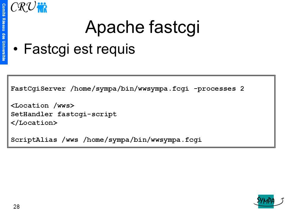Apache fastcgi Fastcgi est requis