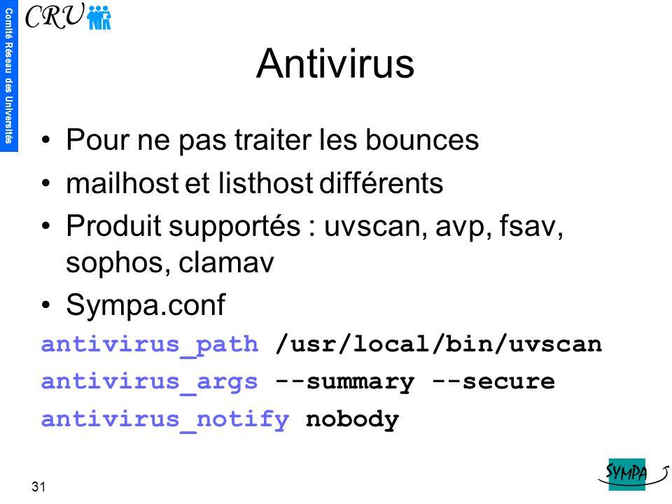 Antivirus Pour ne pas traiter les bounces