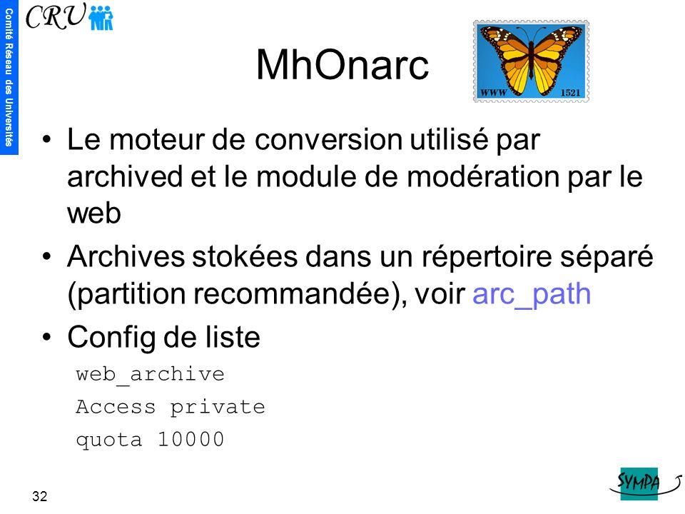 MhOnarc Le moteur de conversion utilisé par archived et le module de modération par le web.