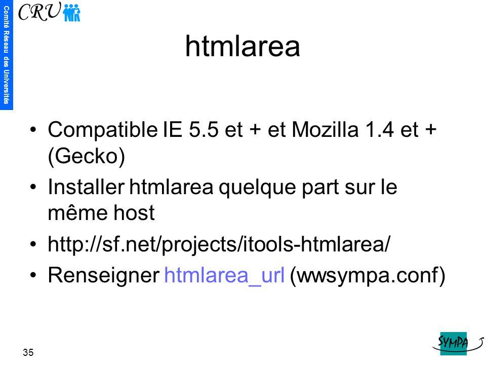 htmlarea Compatible IE 5.5 et + et Mozilla 1.4 et + (Gecko)