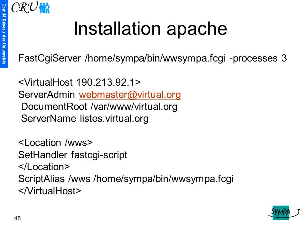 Installation apache FastCgiServer /home/sympa/bin/wwsympa.fcgi -processes 3. <VirtualHost 190.213.92.1>