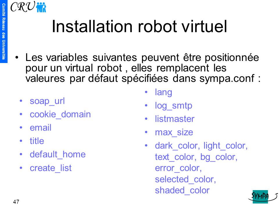 Installation robot virtuel
