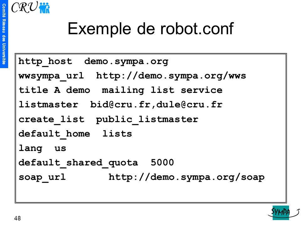 Exemple de robot.conf http_host demo.sympa.org