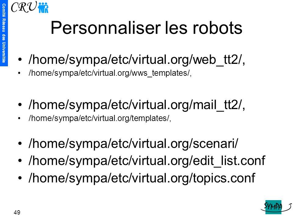 Personnaliser les robots