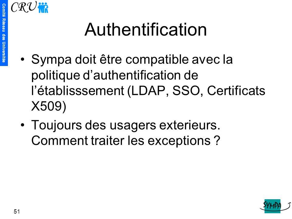 Authentification Sympa doit être compatible avec la politique d'authentification de l'établisssement (LDAP, SSO, Certificats X509)