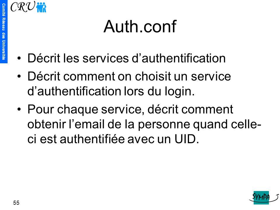 Auth.conf Décrit les services d'authentification