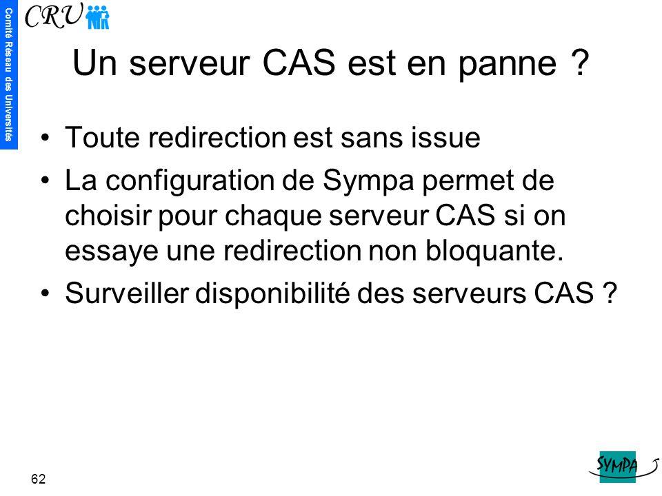 Un serveur CAS est en panne