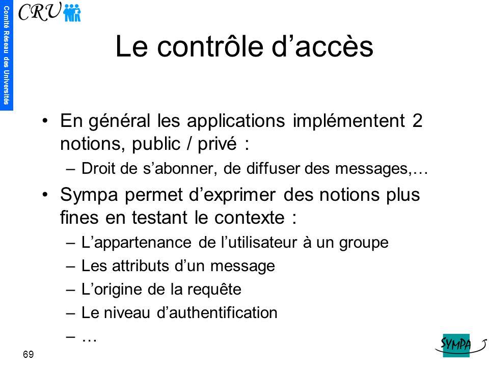 Le contrôle d'accès En général les applications implémentent 2 notions, public / privé : Droit de s'abonner, de diffuser des messages,…