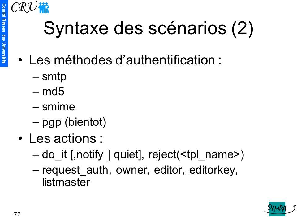 Syntaxe des scénarios (2)