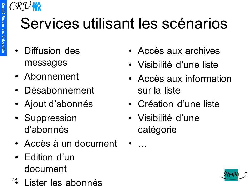 Services utilisant les scénarios